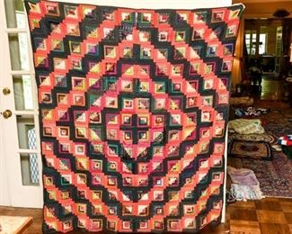 330. Hand Stitched Vintage Geometric Pattern Quilt