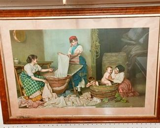 332. Color Antique Lithograph Washing Day wWood Gilt Frame