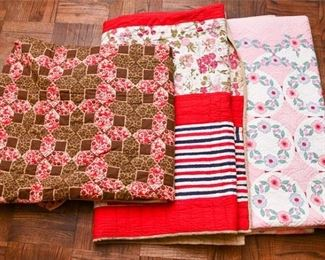 336. Three 3 Smaller Hand Made QuiltsBlankets