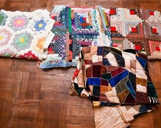 337. Mix of Hand Made Older Quilts Blankets