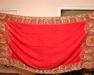 339. Hand Made Indian Embroidered Silk Satin Throw Blanket