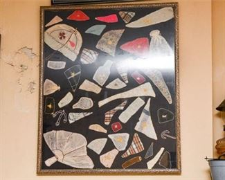 342. Three 3 Framed Displays of Quilting Patches  Sections