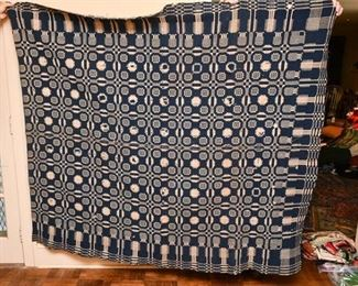343. Vintage Blue White Hand Woven BlanketThrow