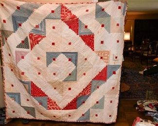 344. Large Older Hand Made QuiltBlanket Throw