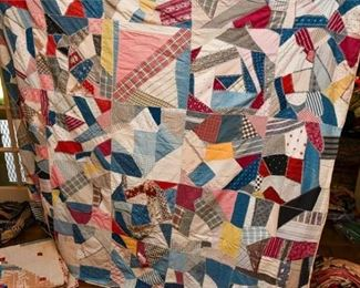 346. Two 2 Antique Hand Made Quilts wPatchwork Panels