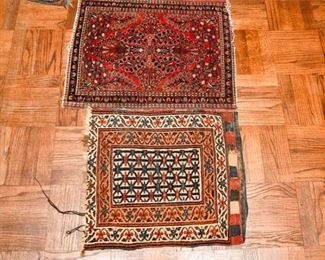 345. Two 2 Vintage Hand Woven Wool Persian Small AreaPrayer Rugs