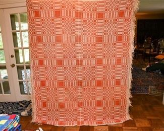 350. Large Antique Hand Woven Blanket Throw