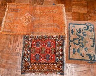 352. Three 3 Smaller Hand Woven Wool Oriental Area Rugs