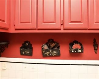 354. Vintage Asian Lacquered Wooden Wall Pockets Accessories