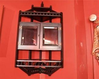 355. Late Victorian Wooden Corner Cabinet Shelf