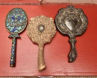 356. Three 3 Vintage Womens Hand Held Vanity Mirrors CHINESEANTLERNOUVEAU