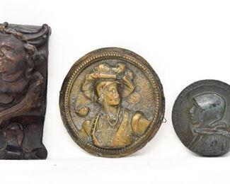 5. Three 3 Antique Wall Hangings wCarved Wood Cherub  Plaques