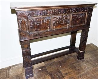 6. Fine 18th Century Carved Oak ENGLISH Side Board wCarved Panels