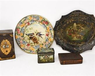 13. Antique Decorative Tin Boxes Trays
