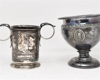 15. Two 2 Antique Victorian Silver Vase  English Coin Silver Cup
