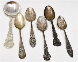17. Six 6 Antique Sterling Silver Collectible Spoons