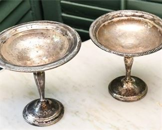 18. Vintage Pair Sterling Silver Center DishCompotes