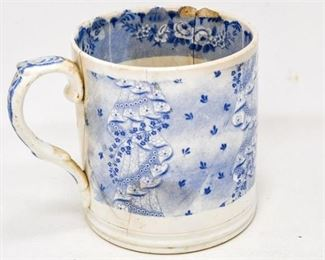 25. Antique English Flow Blue MugCup