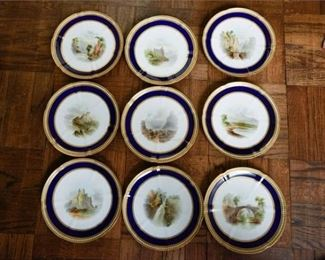 29. Fine Set of Nine 9 Antique English Porcelain Landscape Plates