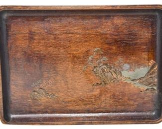 31. Nice Antique Asian Scenic Wooden Tray wApplied Decoration