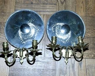 49. Pair Antique Brass Mirror Candlestick Wall Sconces