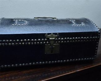 52. Antique English Leather Covered Travel CaseTrunk