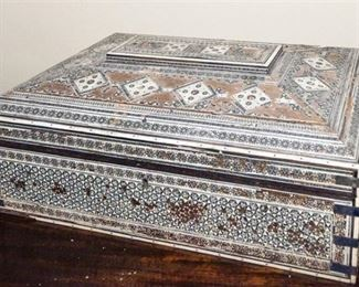 50. Vintage Middle Eastern Carved Wooden Jewelry Box wIvory Inlays and Decoration