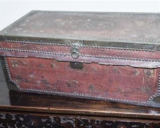 51. Antique English Leather Covered Travel Trunk