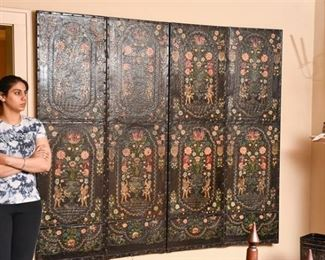 54. Large Painted Leather Wall Panel