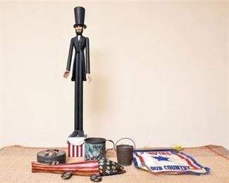 58. Folk Art Hand Carved Wooden Abe Lincoln Statute wCarved Wooden Objects