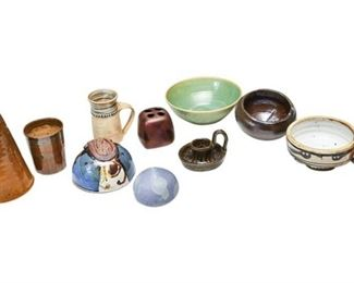 63. Interesting Mix of Artisan Pottery Objects Vases
