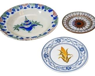 64. Three 3 Antique Ceramic Decorative Plates