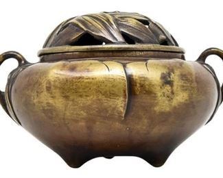 75. Bronze Asian Incense Holder