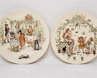 87. Pair Antique Victorian Ceramic Decorative Plates