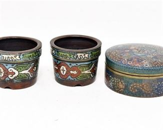 91. Three Enameled Decorative Vessels