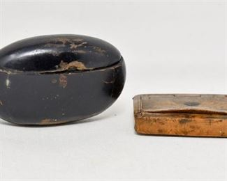 92. Two 2 Antique Wooden Snuff Boxes