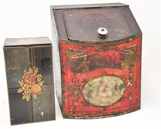 100. Two Antique Lithograph Tin Boxes