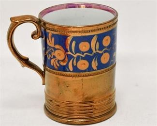 99. Antique English Ceramic Copper Lustre Ware Drinking Mug