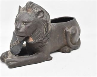 102. Antique Ceramic British Lion Planter Figurine