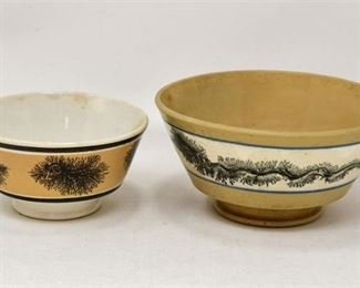 104. Set of Two 2 Antique English 1850s Ceramic Dishes wDecoration