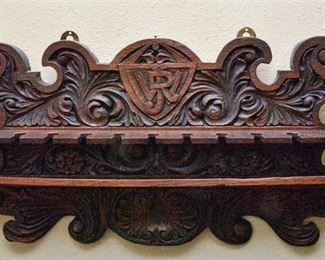 109. Carved Vintage Wine Shelf with Crest
