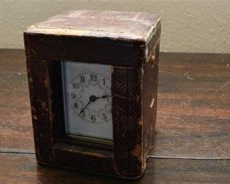 111. Fine Antique Brass Carriage Clock with Leather Case