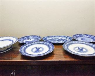 113. Blue and White Staffordshire China Commemorative American Plates