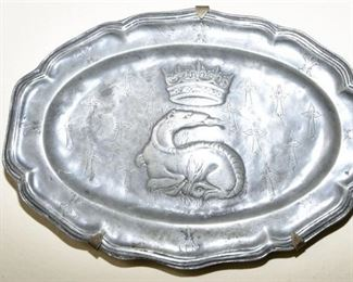 114. Antique English Pewter Plate with Dragon Decoration