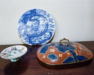 118. Trio of Painted Asian Ceramic Pieces