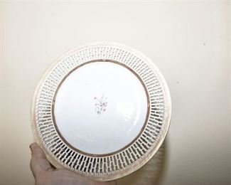 120. Reticulated Porcelain Plate with Floral Detail