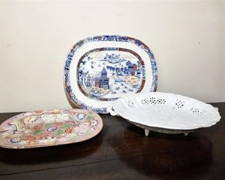 123. Lot of Three 3 Antique Chinese Serving Dishes