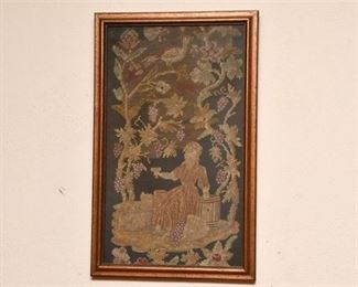 127. Antique NeedlepointEmbroidered Scene of Woman in Vineyard