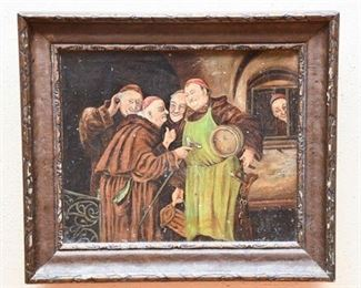 128. Framed Vintage Oil Painting of Monks wWine