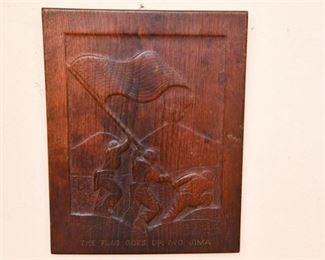 129. Hand Carved Oak Plaque of Marines at Iwo Jima